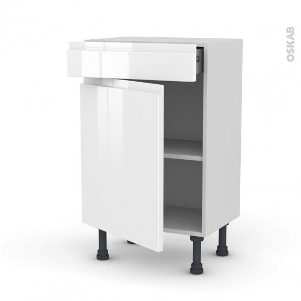 IPOMA Blanc - Meuble bas prof.37 - 1 porte 1 tiroir - L50xH70xP37