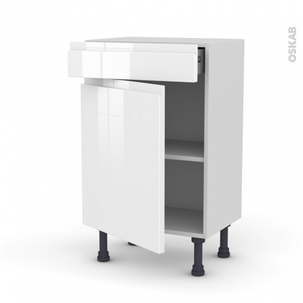 Meuble de cuisine - Bas - IPOMA Blanc - 1 porte 1 tiroir - L50 x H70 x P37 cm