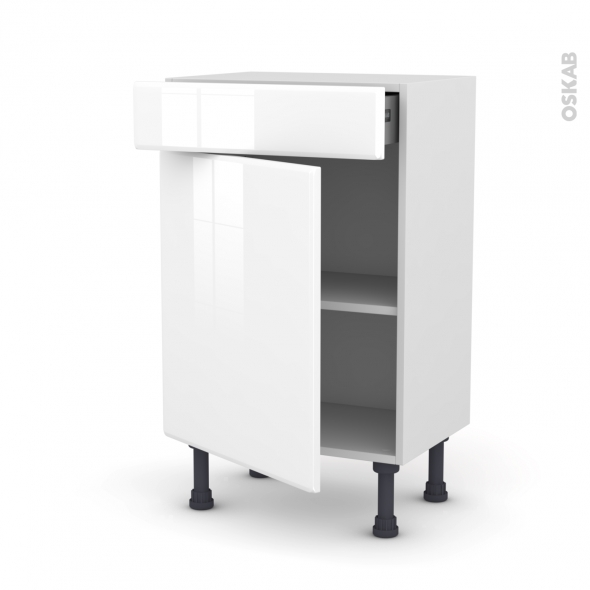 Meuble de cuisine - Bas - IRIS Blanc - 1 porte 1 tiroir - L50 x H70 x P37 cm