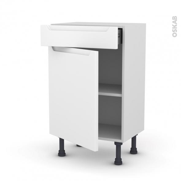 PIMA Blanc - Meuble bas prof.37 - 1 porte 1 tiroir - L50xH70xP37