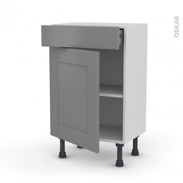 Meuble de cuisine - Bas - FILIPEN Gris - 1 porte 1 tiroir - L50 x H70 x P37 cm