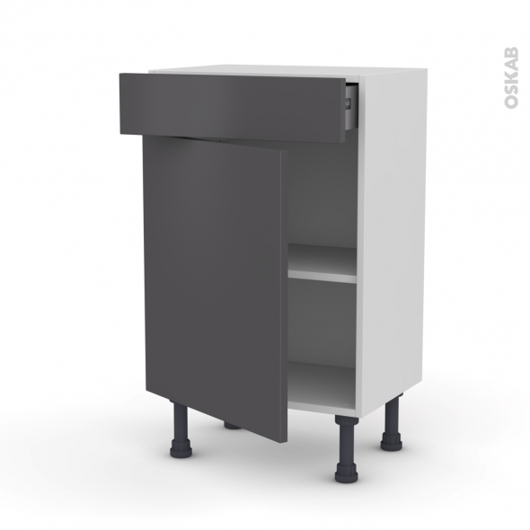GINKO Gris - Meuble bas prof.37 - 1 porte 1 tiroir - L50xH70xP37