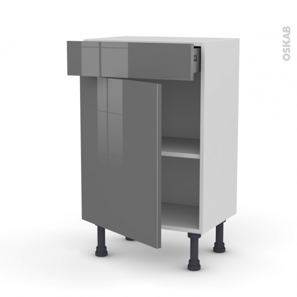 Meuble de cuisine - Bas - STECIA Gris - 1 porte 1 tiroir - L50 x H70 x P37 cm