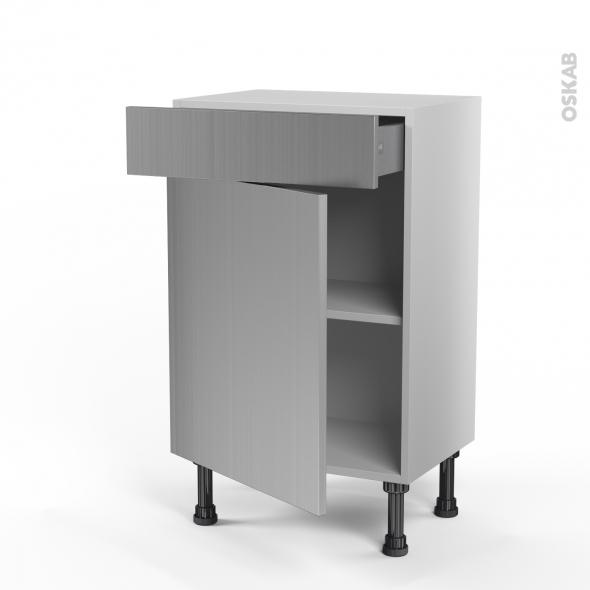 STILO Inox - Meuble bas prof.37 - 1 porte 1 tiroir - L50xH70xP37