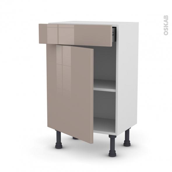 Meuble de cuisine - Bas - KERIA Moka - 1 porte 1 tiroir - L50 x H70 x P37 cm