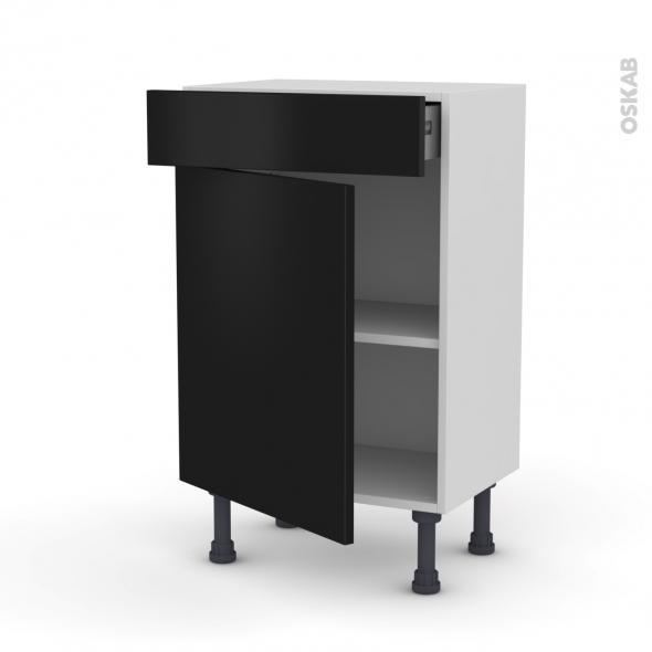 GINKO Noir - Meuble bas prof.37 - 1 porte 1 tiroir - L50xH70xP37