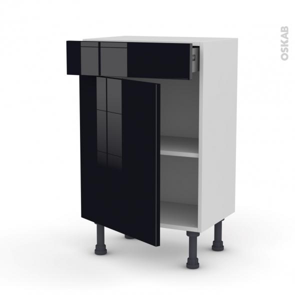 Meuble de cuisine - Bas - KERIA Noir - 1 porte 1 tiroir - L50 x H70 x P37 cm