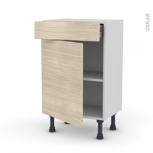 Meuble de cuisine - Bas - STILO Noyer Blanchi - 1 porte 1 tiroir - L50 x H70 x P37 cm