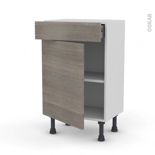 Meuble de cuisine - Bas - STILO Noyer Naturel - 1 porte 1 tiroir - L50 x H70 x P37 cm