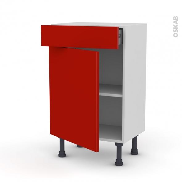 GINKO Rouge - Meuble bas prof.37 - 1 porte 1 tiroir - L50xH70xP37
