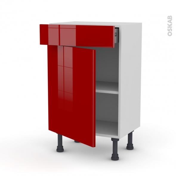 Meuble de cuisine - Bas - STECIA Rouge - 1 porte 1 tiroir - L50 x H70 x P37 cm
