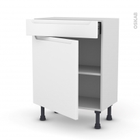 Meuble de cuisine - Bas - PIMA Blanc - 1 porte 1 tiroir - L60 x H70 x P37 cm