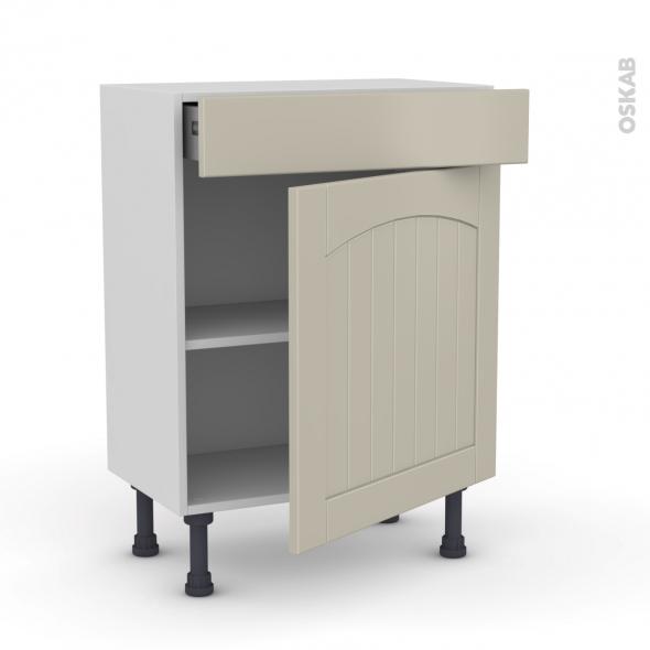 SILEN Argile - Meuble bas prof.37 - 1 porte 1 tiroir - L60xH70xP37 - droite