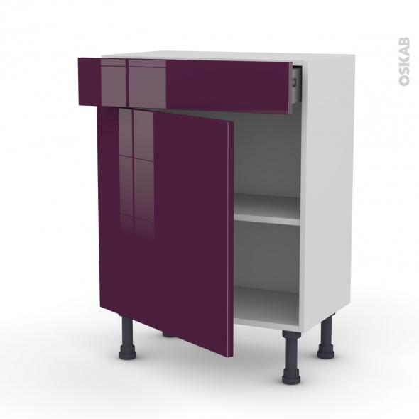 Meuble de cuisine - Bas - KERIA Aubergine - 1 porte 1 tiroir - L60 x H70 x P37 cm