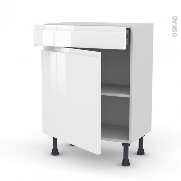 Meuble de cuisine - Bas - IPOMA Blanc - 1 porte 1 tiroir - L60 x H70 x P37 cm