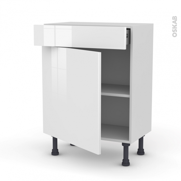 STECIA Blanc - Meuble bas prof.37 - 1 porte 1 tiroir - L60xH70xP37