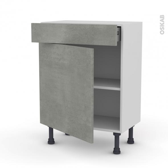 Meuble de cuisine - Bas - FAKTO Béton - 1 porte 1 tiroir - L60 x H70 x P37 cm