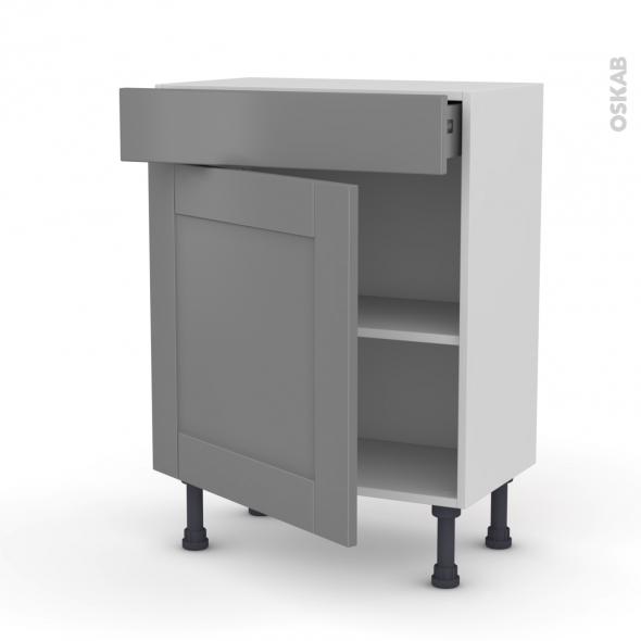 Meuble de cuisine - Bas - FILIPEN Gris - 1 porte 1 tiroir - L60 x H70 x P37 cm