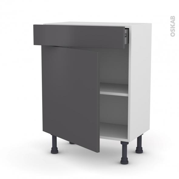 Meuble de cuisine - Bas - GINKO Gris - 1 porte 1 tiroir - L60 x H70 x P37 cm