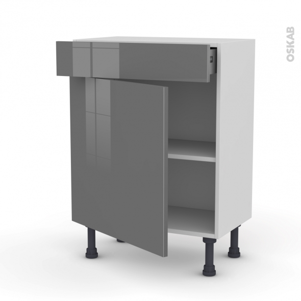 Meuble de cuisine - Bas - STECIA Gris - 1 porte 1 tiroir - L60 x H70 x P37 cm