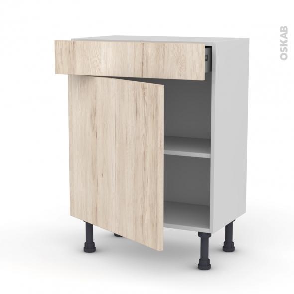 Meuble de cuisine - Bas - IKORO Chêne clair - 1 porte 1 tiroir - L60 x H70 x P37 cm