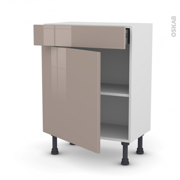 Meuble de cuisine - Bas - KERIA Moka - 1 porte 1 tiroir - L60 x H70 x P37 cm