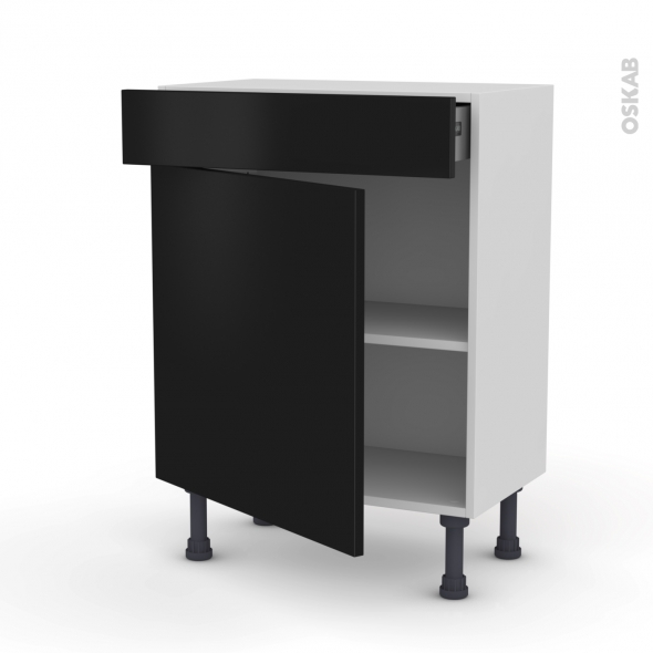 Meuble de cuisine - Bas - GINKO Noir - 1 porte 1 tiroir - L60 x H70 x P37 cm