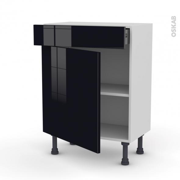 Meuble de cuisine - Bas - KERIA Noir - 1 porte 1 tiroir - L60 x H70 x P37 cm