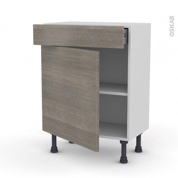 Meuble de cuisine - Bas - STILO Noyer Naturel - 1 porte 1 tiroir - L60 x H70 x P37 cm