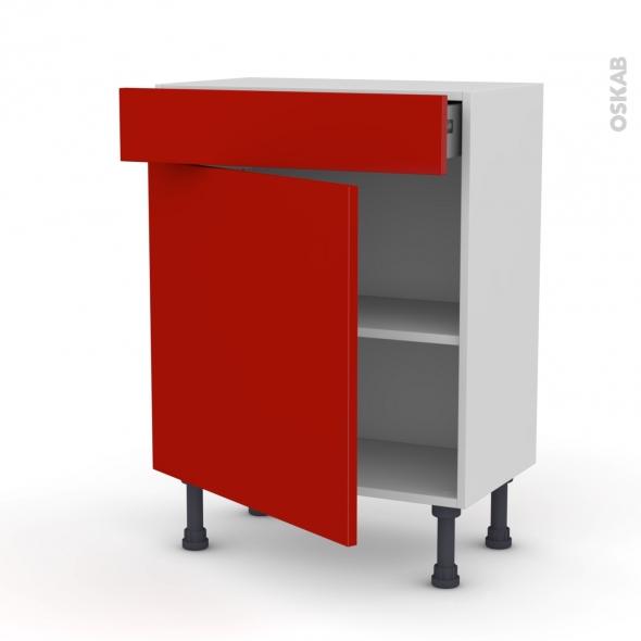 GINKO Rouge - Meuble bas prof.37 - 1 porte 1 tiroir - L60xH70xP37