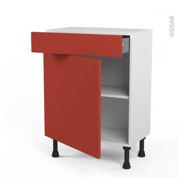 HELIO Rouge - Meuble bas prof.37 - 1 porte 1 tiroir - L60xH70xP37