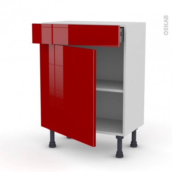 Meuble de cuisine - Bas - STECIA Rouge - 1 porte 1 tiroir - L60 x H70 x P37 cm