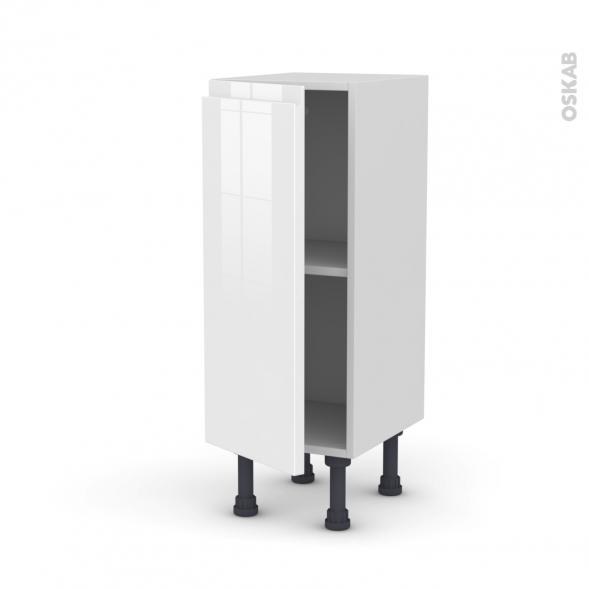 Meuble de cuisine - Bas - IPOMA Blanc brillant - 1 porte - L30 x H70 x P37 cm
