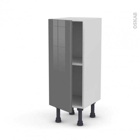 Meuble de cuisine - Bas - STECIA Gris - 1 porte - L30 x H70 x P37 cm