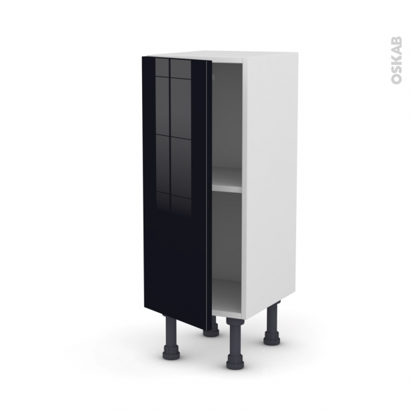 Meuble de cuisine - Bas - KERIA Noir - 1 porte - L30 x H70 x P37 cm