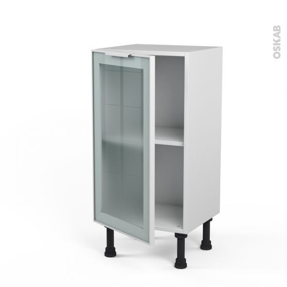 Meuble de cuisine - Bas vitré - Façade blanche alu - 1 porte - L40 x H70 x P37 cm - SOKLEO