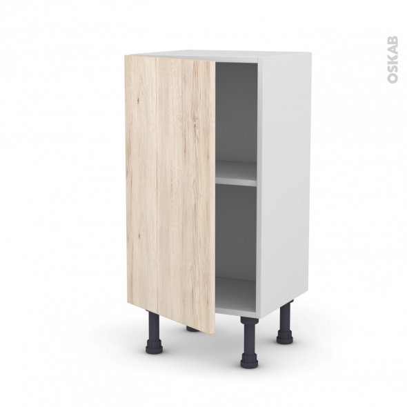 Meuble de cuisine - Bas - IKORO Chêne clair - 1 porte - L40 x H70 x P37 cm