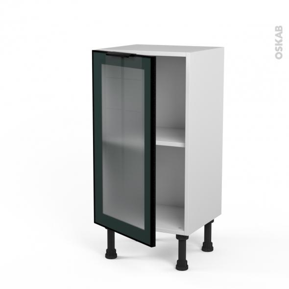 SOKLEO - Meuble bas cuisine prof.37  - Façade noire alu vitrée - 1 porte - L40xH70xP37