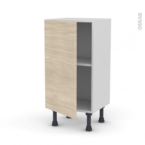 Meuble de cuisine - Bas - STILO Noyer Blanchi - 1 porte - L40 x H70 x P37 cm