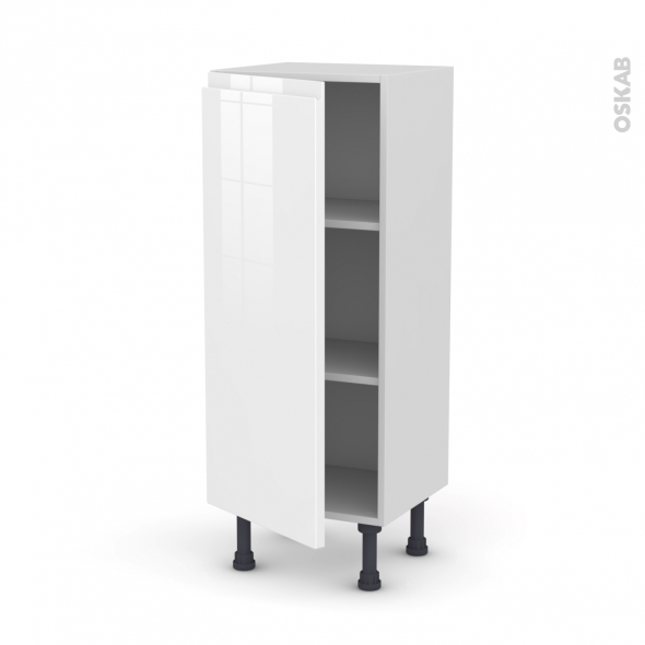 Meuble de cuisine - Bas - IPOMA Blanc brillant - 1 porte - L40 x H92 x P37 cm