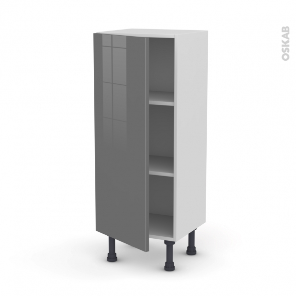 Meuble de cuisine - Bas - STECIA Gris - 1 porte - L40 x H92 x P37 cm