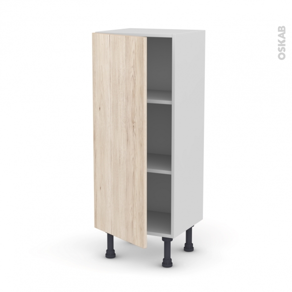 Meuble de cuisine - Bas - IKORO Chêne clair - 1 porte - L40 x H92 x P37 cm