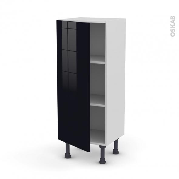 Meuble de cuisine - Bas - KERIA Noir - 1 porte - L40 x H92 x P37 cm
