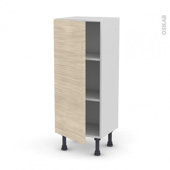 Meuble de cuisine - Bas - STILO Noyer Blanchi - 1 porte - L40 x H92 x P37 cm