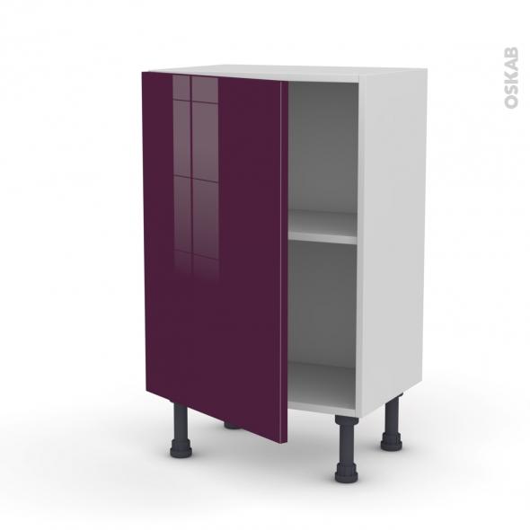 Meuble de cuisine - Bas - KERIA Aubergine - 1 porte - L50 x H70 x P37 cm
