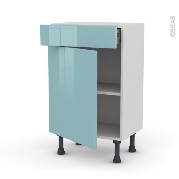 Meuble de cuisine - Bas - KERIA Bleu - 1 porte 1 tiroir - L50 x H70 x P37 cm