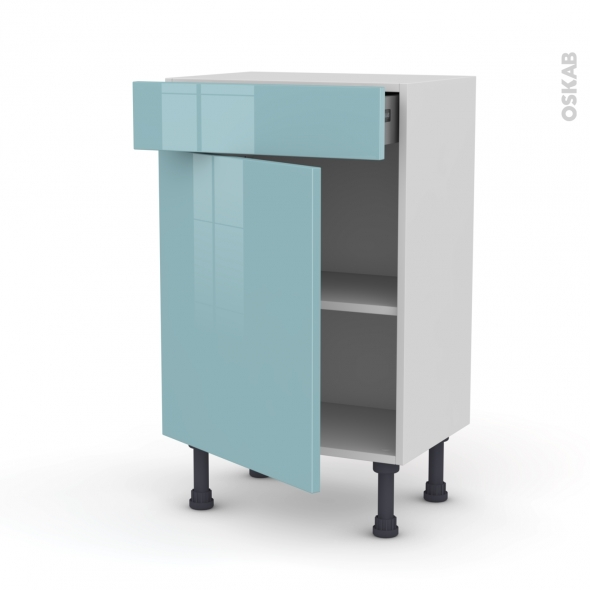 KERIA Bleu - Meuble bas prof.37 - 1 porte 1 tiroir - L50xH70xP37