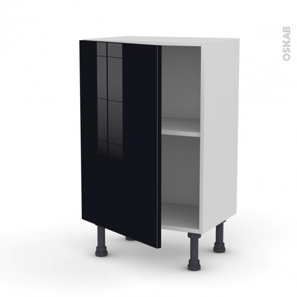 KERIA Noir - Meuble bas prof.37  - 1 porte - L50xH70xP37