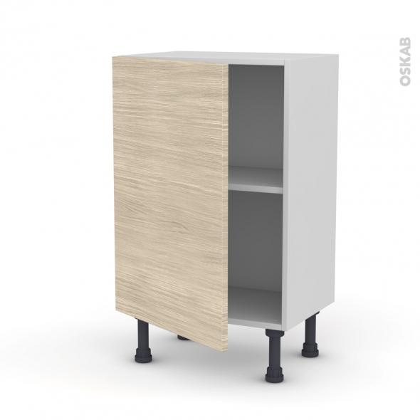 Meuble de cuisine - Bas - STILO Noyer Blanchi - 1 porte - L50 x H70 x P37 cm