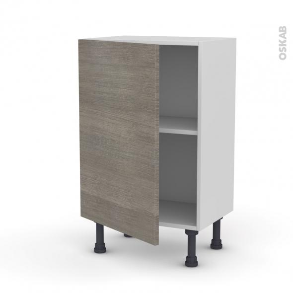 Meuble de cuisine - Bas - STILO Noyer Naturel - 1 porte - L50 x H70 x P37 cm